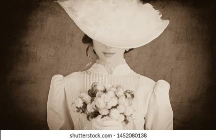 Beautiful redhead women with bouquet