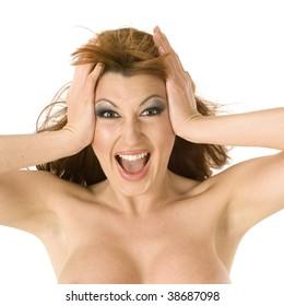 Beautiful redheaded woman screaming crazily