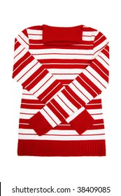 Beautiful red,striped sweater isolated on a white background.
