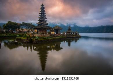 beautiful reflectiion morning from ulun danu temple bedugul Bali Indonesia
