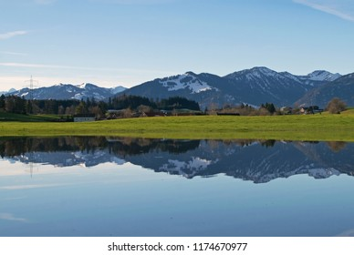 Beautiful reflection of the Allgau Alpes, Bavaria, Germany