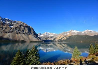 Beautiful reflection of Bow Lake