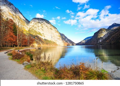 Beautiful Reflection of Colorful Mountain in Koenigsee