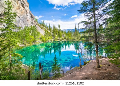 Beautiful reflection of Grassi Lakes - Canmore, Alberta - Canada