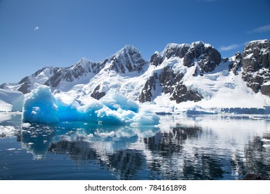 Beautiful reflection of an iceberg and mountains in Antarctica