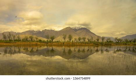 Beautiful reflection of Katpana Lake, Skardu Pakistan.
