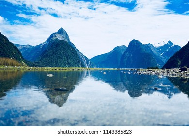 Beautiful reflection of Milford sound, New Zealand