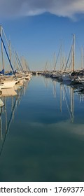 Beautiful reflection Saint-Laurent-du-Var harbour, France
