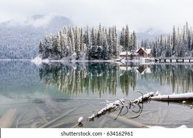 Beautiful Reflections of a Mountain Lake and Lodge