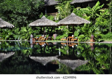 Beautiful reflections at a resort pool in Hue, Vietnam