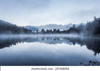 Beautiful reflections of Southern Alps at Lake Matheson on early morning, South Island, New Zealand
