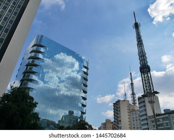 Beautiful reflective high rise building and antenna tower, Sâo Paulo, Brazil.