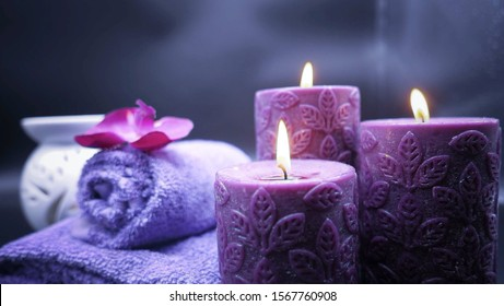 Beautiful and relax spa composition on a purple tone on dark background-Image