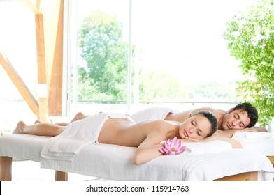 Beautiful relaxed couple enjoy the peace after a beauty treatment