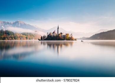 Beautiful relaxing scene at Bled lake, on a sunny autumn morning. Slovenia, Europe.