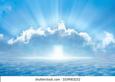 Beautiful religious background - bright light from heaven, light of hope from heaven door