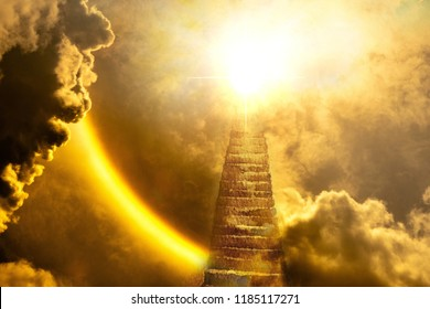 Beautiful religious background - stairs to heaven, bright light from heaven, stairway leading up to skie