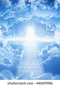 Beautiful religious background - stairs to heaven, stairway leading up to skies, bright light from heaven door