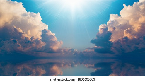 Beautiful religious image - bright light from heaven, light of hope and happyness from skies.  - Shutterstock ID 1806605203