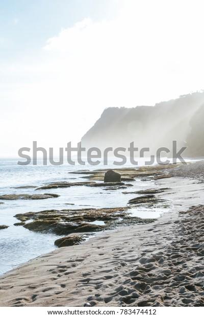 Beautiful remote beach, low tide