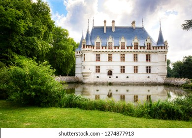 Beautiful Renaissance Azay-le-Rideau Castle on the Indre River in the Loire Valley, France