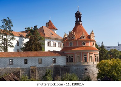 Beautiful renaissance style castle, 16th century, with Roundel pavilion on the hill near the river Nezarka in Jindrichuv Hradec. Czech Republic