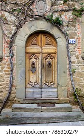 Beautiful Renaissance style front door with steps and stone tablet. Vine growing around the doorway. Tuscany, Italy