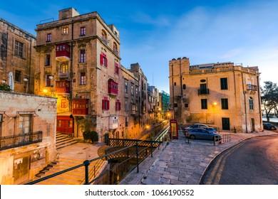 Beautiful residential area in Valletta,Malta.