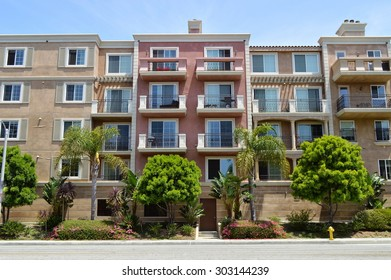 Beautiful residential buildings on the shore of the lagoon. Marina del Rey, California.