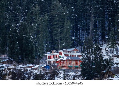 Beautiful Resort on the mountains, amidst the snow, in kasol, himachal pradesh in INDIA