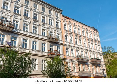 Beautiful restored old residential construction seen at the Prenzlauer Berg district in Berlin, Germany