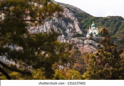 Beautiful Resurrection Church on a hill near the sea. Russia, Crimea, Foros October 2018