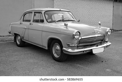 Beautiful retro car. Stylish vehicle. Nostalgia of past time. Cars of the time of Soviet Union. Black and white photography. Moscow style Minsk. Belarus. East Europe -Aug 2, 2016