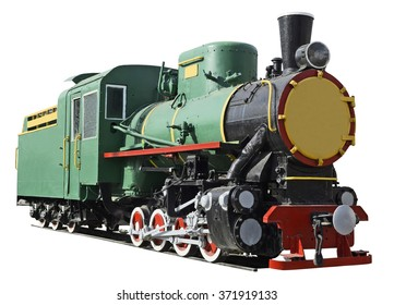 Beautiful retro forties locomotive on the white background .1930s.