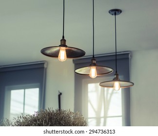 beautiful retro lighting decor in coffee shop.