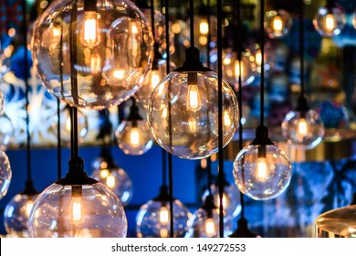 Beautiful retro luxury interior lighting lamp decor in Bangkok city, Thailand
