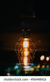 Beautiful retro luxury interior lighting lamp decor glowing in dark.