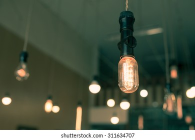 Beautiful retro luxury  light bulb decor glowing