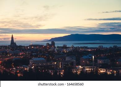 Beautiful Reykjavik Night View Panorama