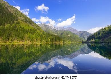 beautiful rhino lake in autumn jiuzhaigou valley national park , China