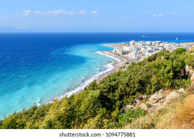 Beautiful Rhodes town and azure sea water. Rhodes island, Greece