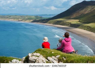 Beautiful Rhossili Bay area of The Gower, South Wales. Amazing views from the cliff tops over-looking the sea and sandy beaches.