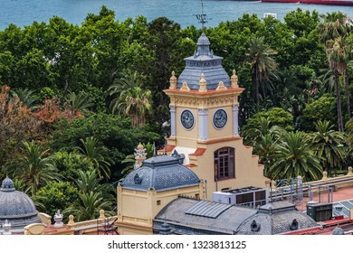 Beautiful richly-decorated Neo-baroque style Malaga City Council building. View from Gibralfaro castle. Malaga, Costa del Sol, Andalusia Spain.