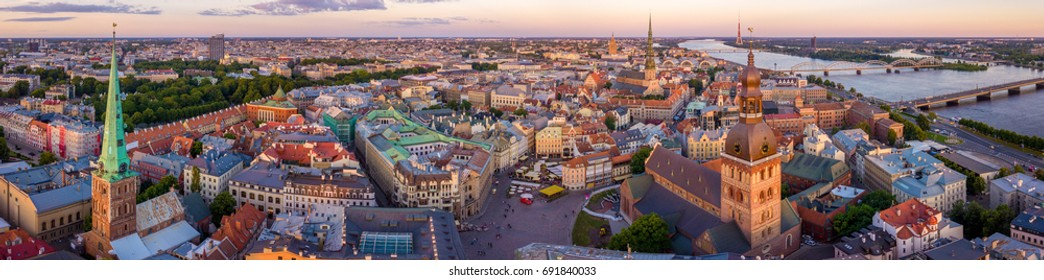 Beautiful Riga old town panoramic view from above