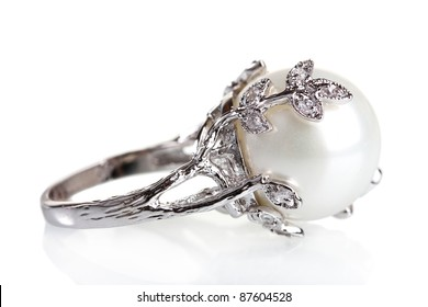 beautiful ring with pearl isolated on white
