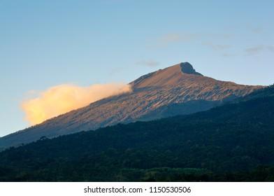 Beautiful Rinjani Mountain after sunrise, selective