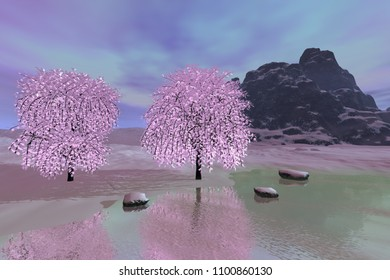 Beautiful river, 3D rendering, a winter landscape, snowy trees and stones, reflection on water, rocky mountain and colored clouds in the sky.