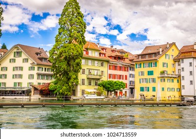 Beautiful river cityscape of Lucerne, Switzerland