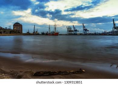 beautiful river Elbe in Hamburg