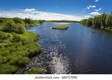 Beautiful river landscape in countryside
